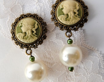 Cameo and pearl clip-on earrings