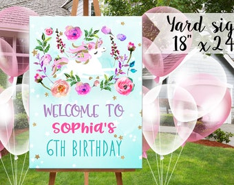 Unicorn Birthday Yard Sign - Pink teal and Glitter- Unicorn Birthday - Instant Download Poster