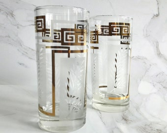 Set of 2 Gold Greek Key Glasses