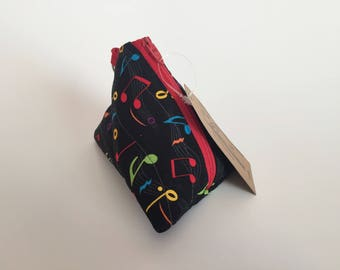 Mini Pouch - Change Purse - Musical Notes Change Pouch - Coin Pouch - Pyramid Earbuds Pouch - Triangle Lipstick Pouch - Small Size