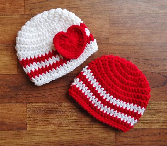Crocheted Baby Boy Girl Twins Valentine S Day Hat Set Red
