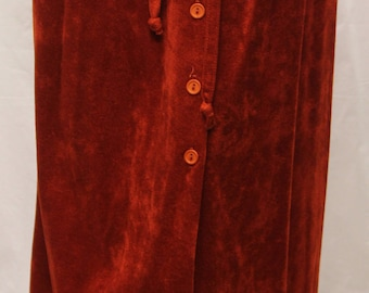 1970's Women Crusch Velvet Skirt, Rustic, Button Front, Aline,Pockets, Knee Length, Belt W Belt loops Size 11, V70228