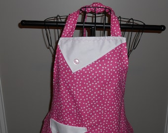 Pink and White Polka Dots - Women's Apron - Ruffle - Pocket