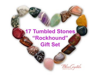 ROCKHOUND Starter Set of 17 Tumbled Stones Gift Wrapped Collection Healing Crystals and Stones Hobby Stone Kids Education