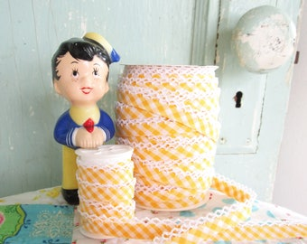Yellow Gingham Double Fold Crochet Edge Bias Tape (No. 84). Yellow Gingham Binding.   Yellow Gingham Fabric.  Yellow Fabric.  Yellow Trim.