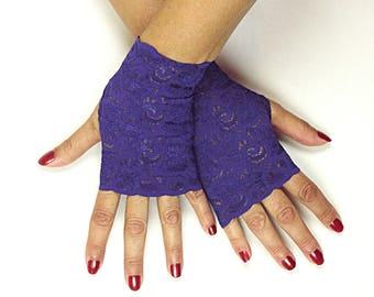 Purple Lace Gloves - Purple Fingerless Gloves - Amethyst Purple Gloves - Royal Purple Stretch Lace Gloves - Prom Gloves - Wedding Gloves