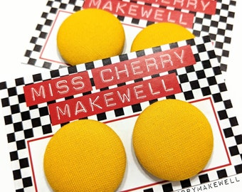 Mustard Yellow Fabric Button Rockabilly 1950's Pin Up Retro Vintage Inspired Stud or Clip On Earrings By Miss Cherry Makewell