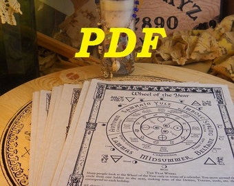 Sun, Moon, and Star Lore BOS Sheets PDF specialty pack -- 5 sheets -- Book of Shadows pages