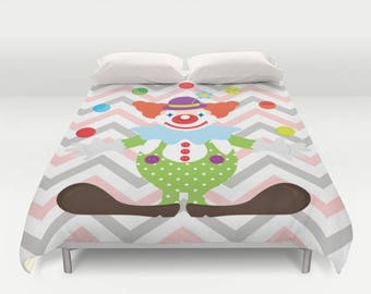 Clown Duvet Cover , Clown Duvet , Bedding , Bedroom Decor , Dorm Bedding , Bedroom Decor , Housewares , Nursery Decor , Kids