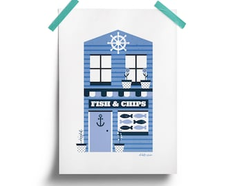 Fish and Chip Shop A4 Print