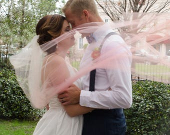Ombré Wedding Veil, One Layer Ombré Blush Veil, Custon Ombré Bridal Veil, Ombré Blue Veil, Ombré Blush Veil- BETH