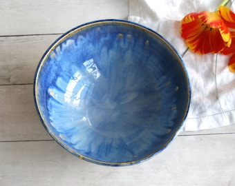 Handcrafted Rustic Stoneware Bowl with Blue Swirling Glaze Ceramic Serving Bowl Pottery Made in USA