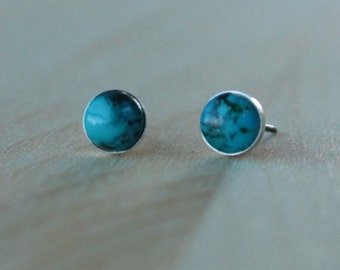 Turquoise Gemstone 6mm Bezel Set on Titanium / Niobium Studs - Nickel Free & Hypoallergenic Post Earrings for Sensitive Ears