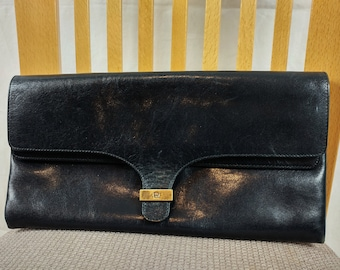 Vintage 1970/80s Etienne Aigner Black Leather Clutch Bag