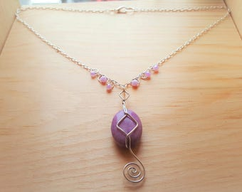 Purple Stone Wire-Wrapped Necklace
