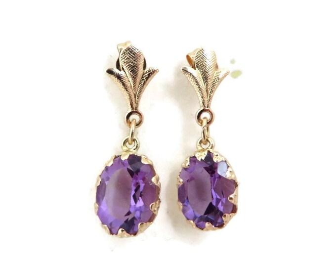 Amethyst Earrings, Vintage Gold Earrings, Gold Drop Earrings, Dainty Earrings, Statement Earrings, Womens Earrings, Solid Gold Earrings