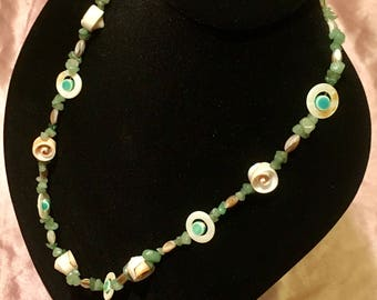"""28"""" seashell necklace with blue ceramic beads and green aventurine stones"""