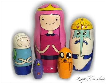 Nesting doll Matryoshka Adventure Time Geek Gift 5pcs Finn Jake Princess Bubblegum Ice King Lumpy Space Princess/ Время приключений