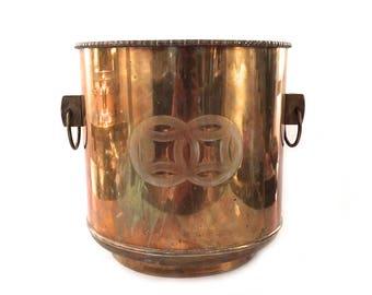 Huge Vintage Asian Brass Pot - Asian Brass Planter - Large Asian Brass Pot - Large Asian Brass Planter - Chinoiserie - Hollywood Regency