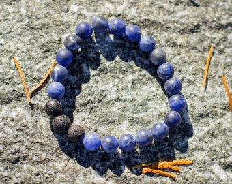 Matte Sodalite Lava Diffuser Bracelet