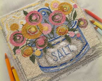 Ranunculus Flower Bouquet Salt Box Collection Series Punch Needle Embroidery DIGITAL Jpeg and PDF PATTERN Michelle Palmer Painting w/Threads