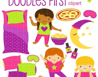 Fun Slumber Party Digital Clip Art for Scrapbooking Card Making Cupcake Toppers Paper Crafts