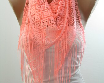 Neon Pink Scarf Tribal Tulle Scarf Wrap Cowl Scarf Pink Wedding Scarf   For Teens Bridal Accessories Bridesmaids Gifts