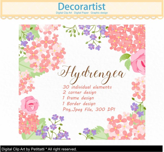 ON SALE Flowers Frame Clipart Floral Hydrangea