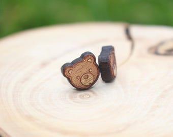 Bear Earrings   Teddy Bear Earrings   Titanium Earrings   Natural Wood Earrings   Cherry Wood Earrings   Hypoallergenic Studs