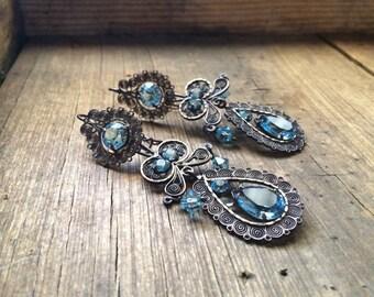 Vintage Mexican Silver Filigree Earrings Aquamarine Rhinestones Chandelier March Birthstone