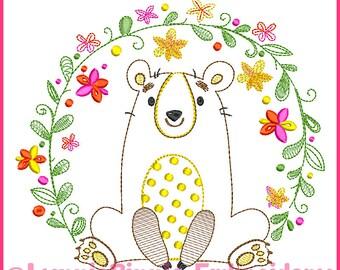 Vintage Flower Frame Bear ColorWork Sketch Machine Embroidery Design File INSTANT Download