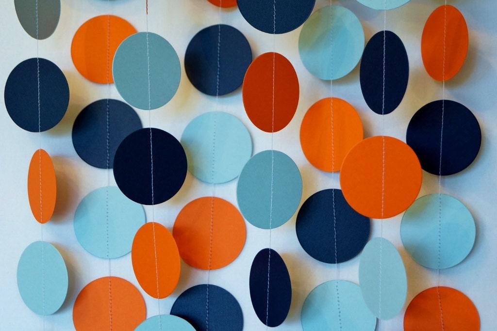Orange Blue Navy Garland Orange Blue Baby Shower Decor