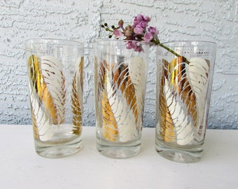 Mid Century Barware - 3 Tumblers - White and Gold Abstract Leaves Pattern - Signed Lex Kuznak - Vintage Cocktail Glasses - Craft Cocktails -