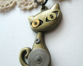 Cat necklace Steampunk cat pendant Necklace Watch Parts pendant Time necklace Steampunk animals Gift for women Mechanical animal