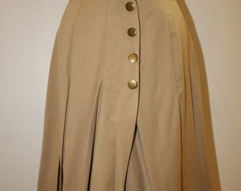 Vintage 1980's Infinitif Skirt. Beige/ Khaki Flare Style Buttons Rare French Made