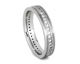 Moissanite Wedding Band, Platinum Wedding Band, Wedding Anniversary Ring