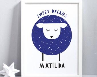 Sweet Dreams- Sheep- Children wall art - Childrens print - Childrens room decor- Nursery art- Personalised name print