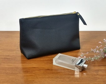 LARGE LEATHER POUCH - Leather Clutch - Leather Toiletry Bag - Leather Bag - Leather Makeup Bag - Cosmetic Bag with Lining