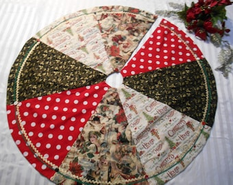 Christmas Tree Skirt, Patchwork, Polka Dot, Victorian Print, Holly, Red, Black, Gold, Cream, Green