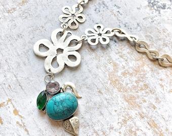 Turquoise Amethyst Tsavorite Garnet Necklace