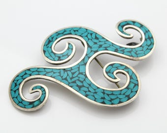 Bold Artisan Modernist-Style Turquoise Inlaid Brooch in Sterling Silver. [11534]