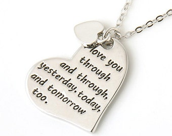 Love Message Heart Pendant Silver engraved necklace