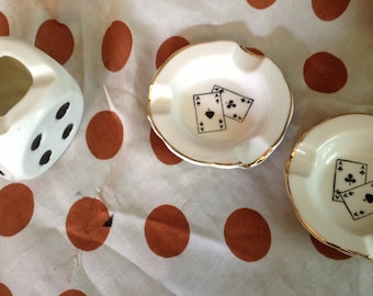 set of 3 vintage ashtrays ceramic poker playing cards and game dice