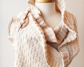 Rococo Merino Wool Hand Knit Shawl in IVORY, Luxurious Merino Wool Wrap, Women's Fall Winter Scarf Fashion, Hygge, White, Wedding, Bride