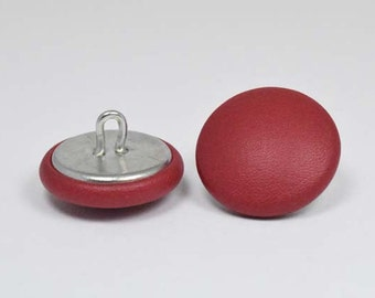 Goji Berry red leather 20mm-6 covered buttons