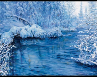 """Landscape Art Print - """"Hell Creek In Blue"""", Limited Edition Giclee Print on Fine Art Paper of Great Lake shoreline, """" x """""""