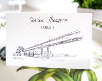 Memphis Skyline Folded Place Cards (Set of 25 Cards)