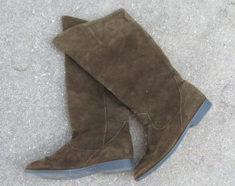 Vintage 80s - 90s Brown Suede Leather Jack Sprat Boots Fall Boots Calf High Boots