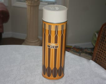 Tall Vintage Thermos Brand King Seeley Thermos Company # 7463 1970s 1971 Made in USA Brown Yellow White