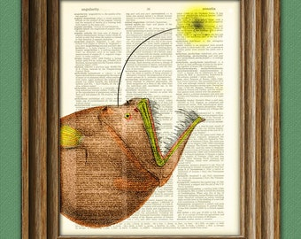 Angler Fish of the ocean deep  illustration beautifully upcycled dictionary page book art print altered